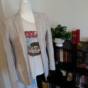 H&M Linen Blazer Striped Beige